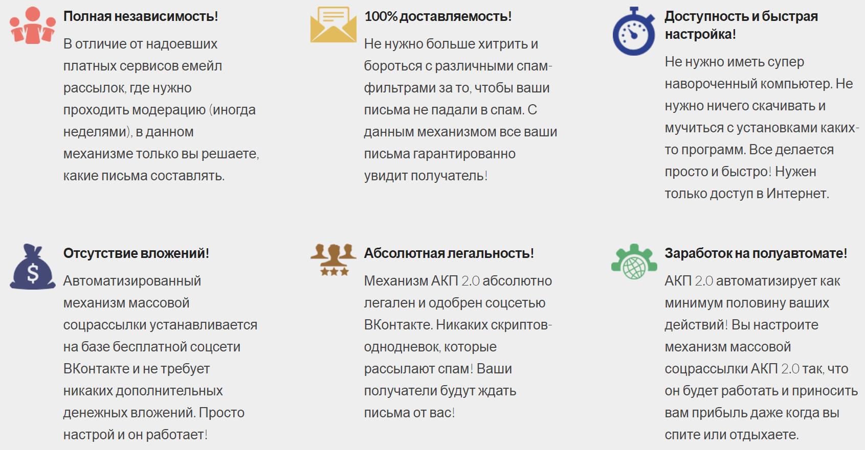 АКП 2.0, автоматизированный механизм массовых соцрассылок