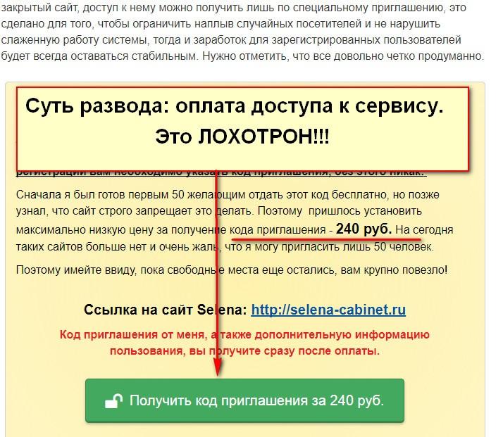 Блог Ивана Родионова Обман не пройдет, Selena, закрытый онлайн сервис