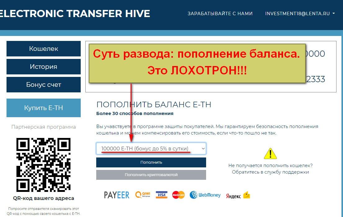 Electronic Transfer Hive, E-TH Кошелек